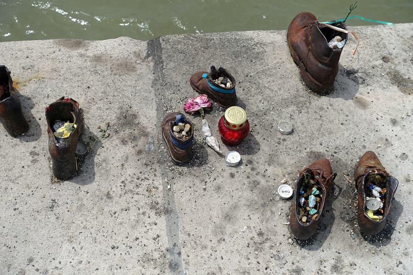 Bronze Shoes Memorial on Danube Promenade in Budapest, Hungary